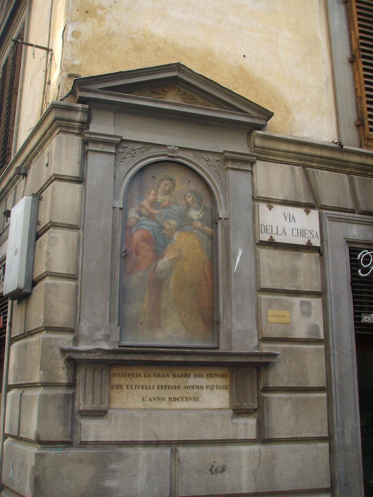 Tabernacolo di Cosimo Ulivelli all'angolo di via della Chiesa e via dei Serragli a Firenze.