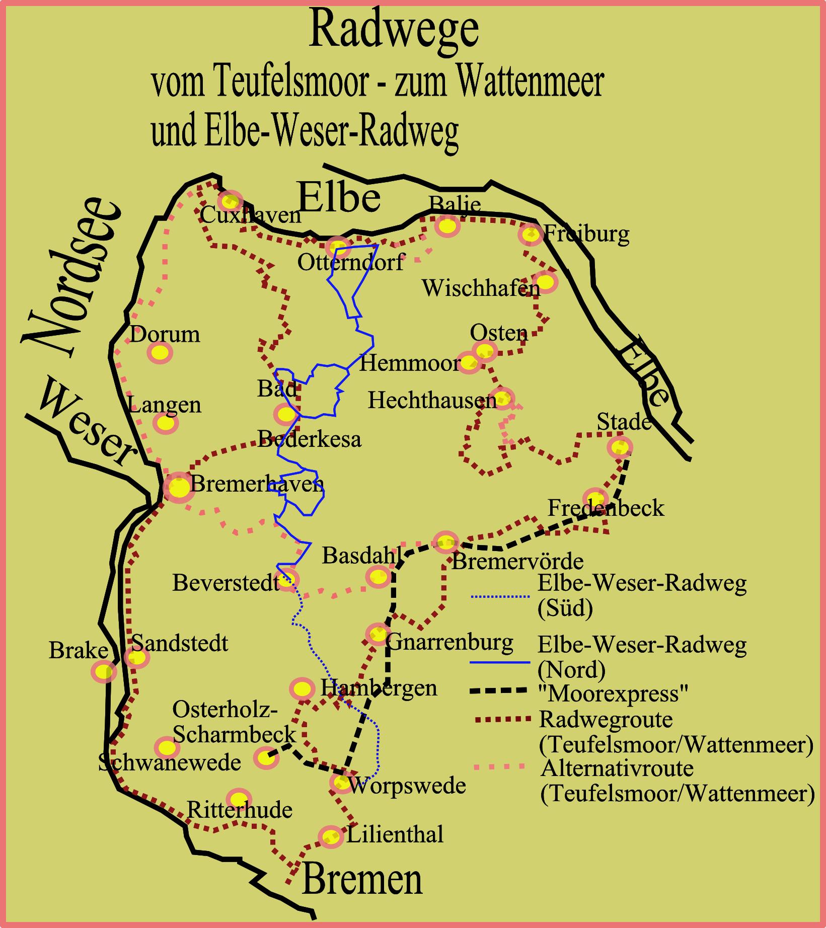 Weser Radweg Karte Pdf.Elbe Weser Radweg Wikipedia
