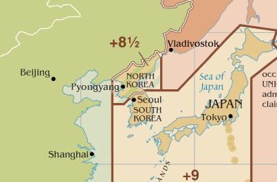 FileTime Zone Around Korean Peninsula After UTC - Japan map time zones