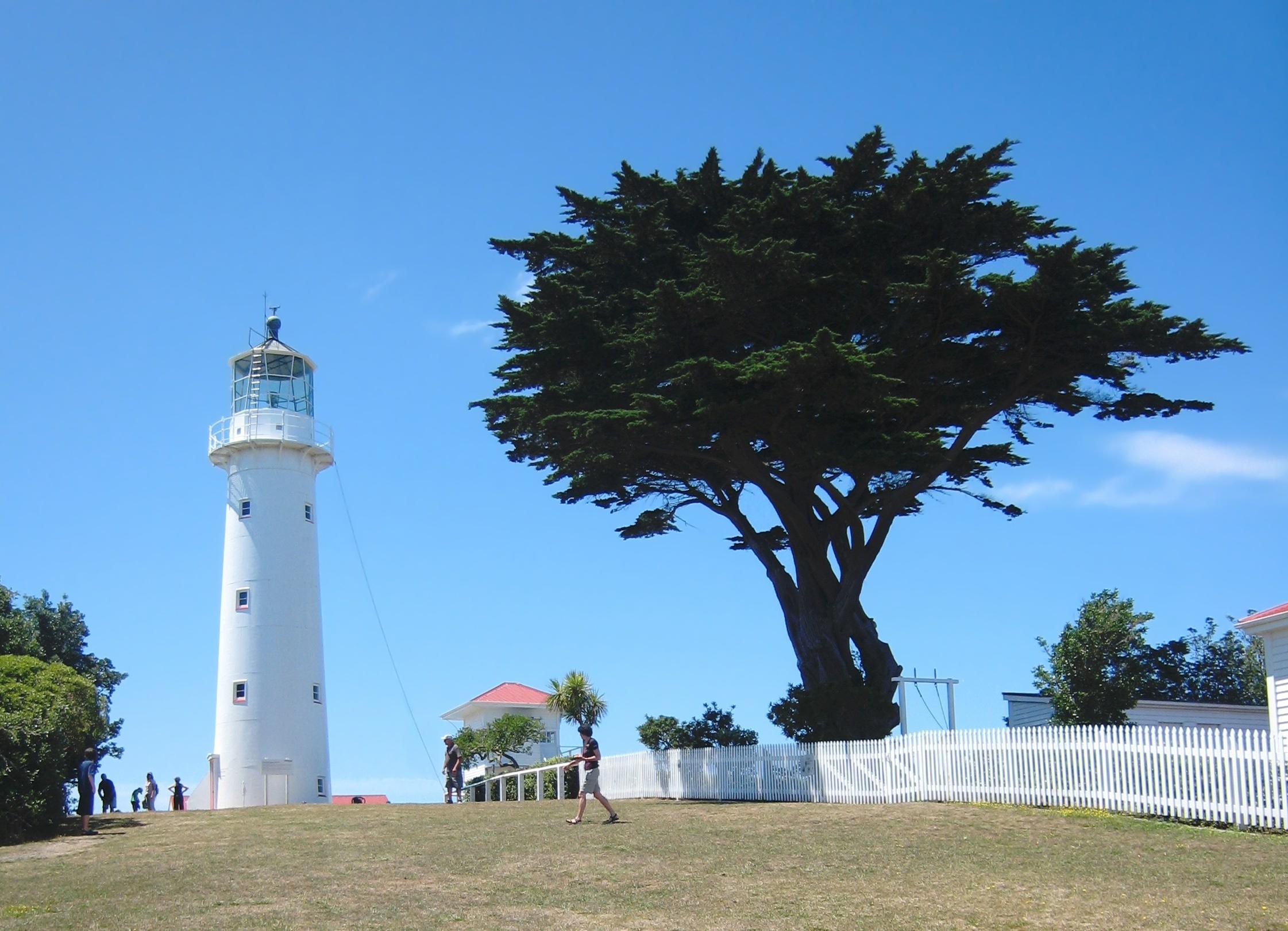 Historical lighthouse and the visitor centre on the Tiritiri Matangi Island bird sanctuary