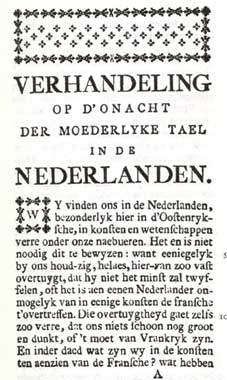 First page of the Essay on the disregard of the native language in the Netherlands (1788) by Jan-Baptist Verlooy