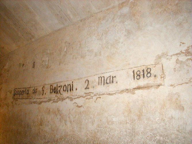 Namensinschrift von G. Belzoni in einer Pyramide in Khafre