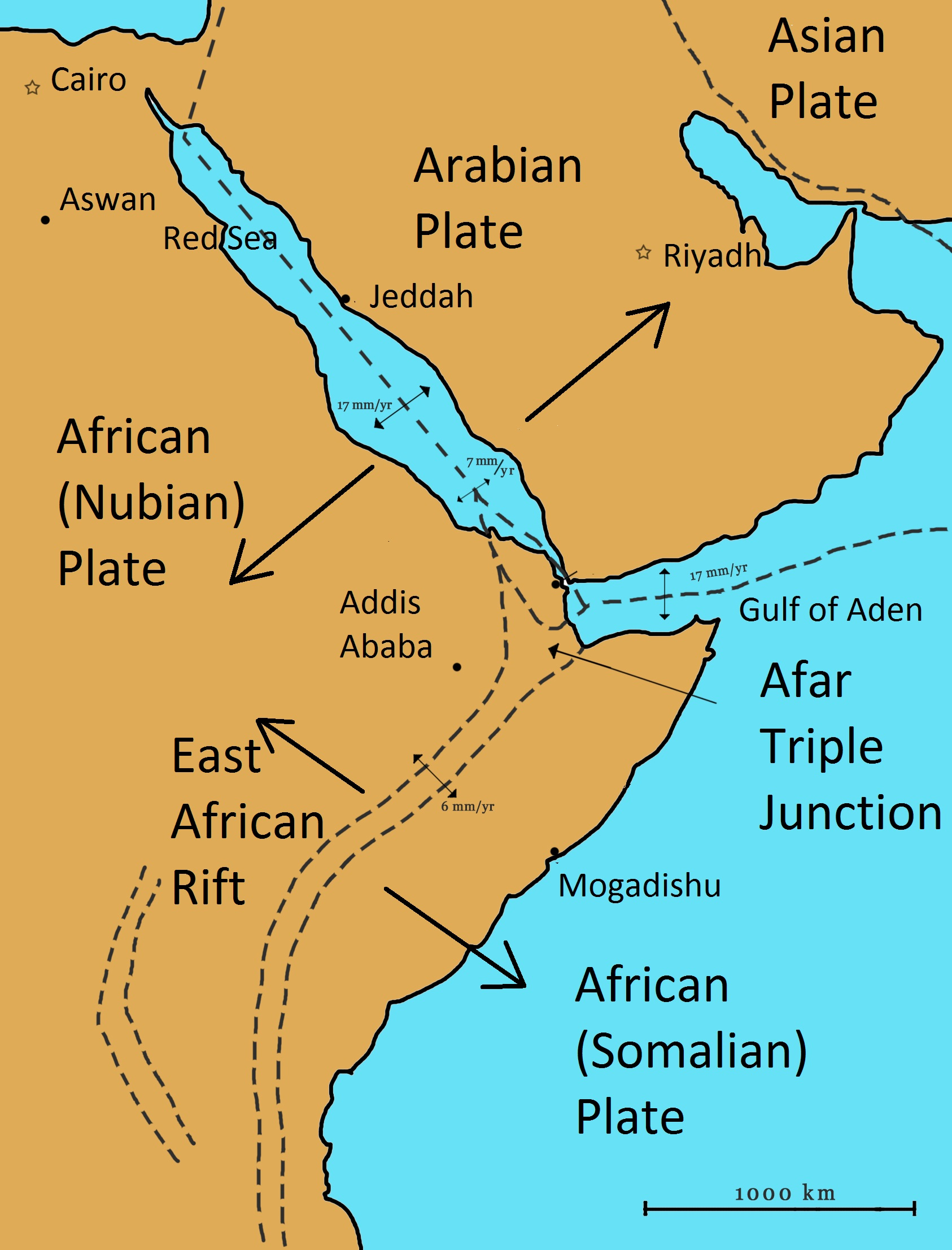 Red Sea On Africa Map Red Sea Rift   Wikipedia