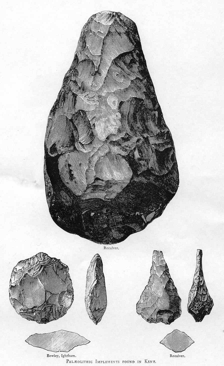 Acheulean hand-axes from Kent. The types shown are (clockwise from top) cordate, ficron and ovate.