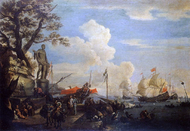 File:Adriaen van der Kabel 1682 Mediterraneon port with Turkish merchants.jpg