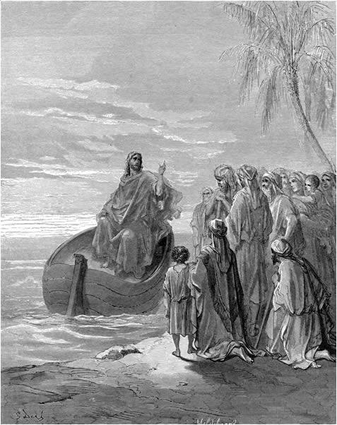 배에 앉아 군중을 가르치시는 예수님 (귀스타브 도레, Gustave Dore, 1866년)