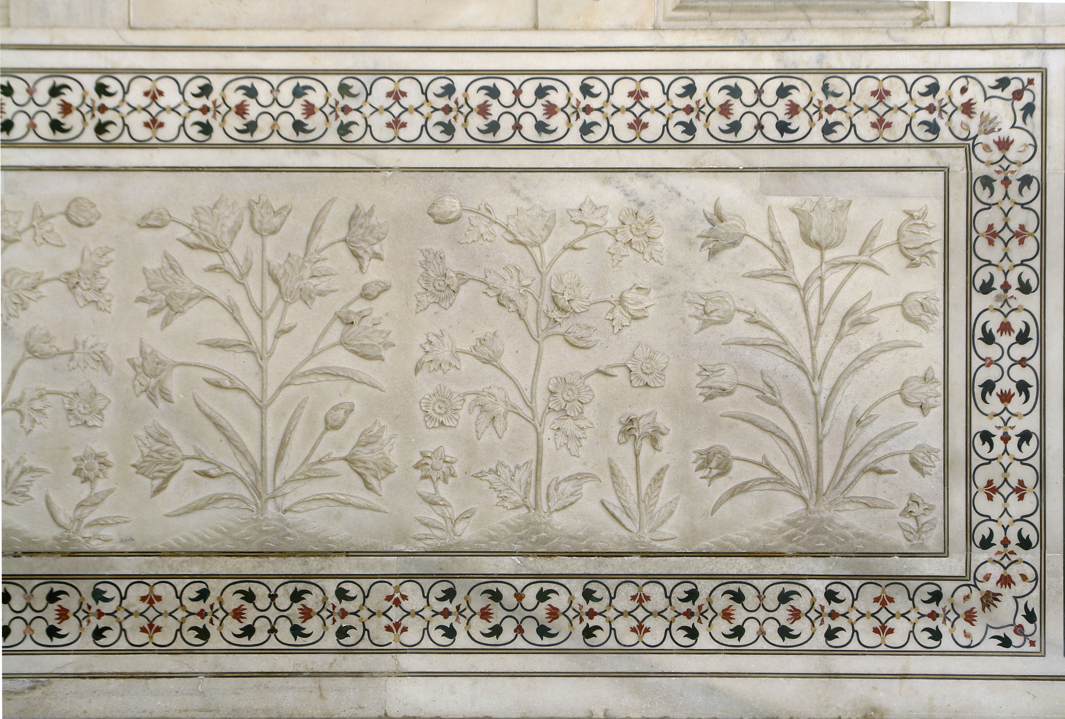 File Flowers In Marble Right Part Taj Mahal Agra India
