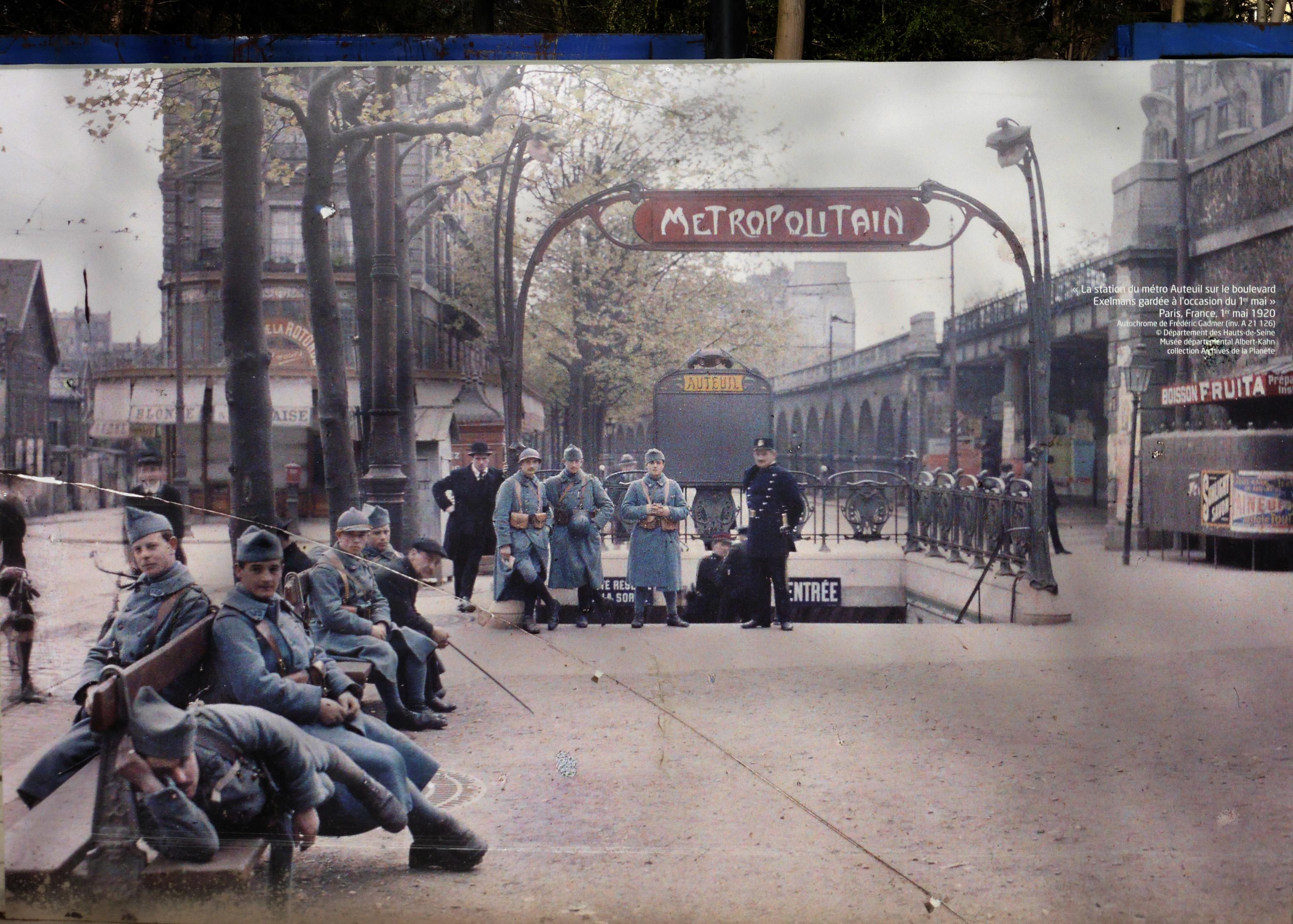 File:France Paris Metro Auteuil Boulevard Excelmans 1920 autochrome ...