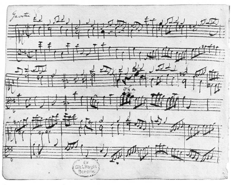 This music manuscript was written by Johann Sebastian Bach and contains the Gavotte from his French Suite No. 5 (BWV 816).