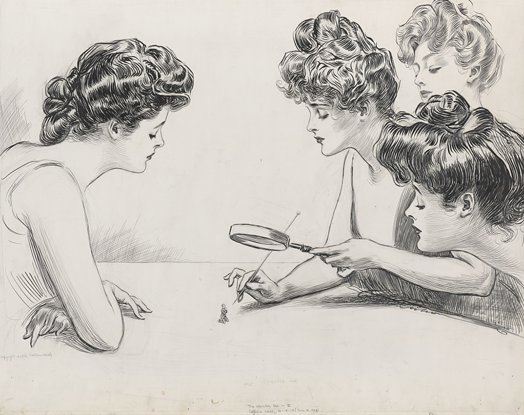 drawing of necked girls
