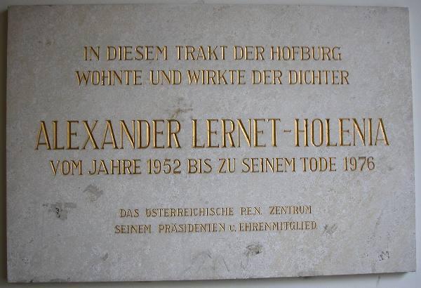 GuentherZ 2005-10-04 2299 Wien01 Hofburg Gedenktafel Alexander Lernet-Holenia.jpg