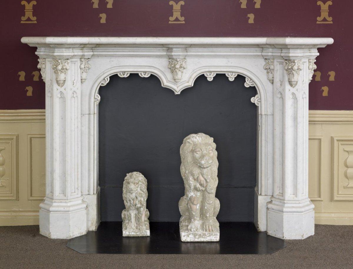 File:Interieur, schouw in de Van Essensalon, in de neogotische stijl ...