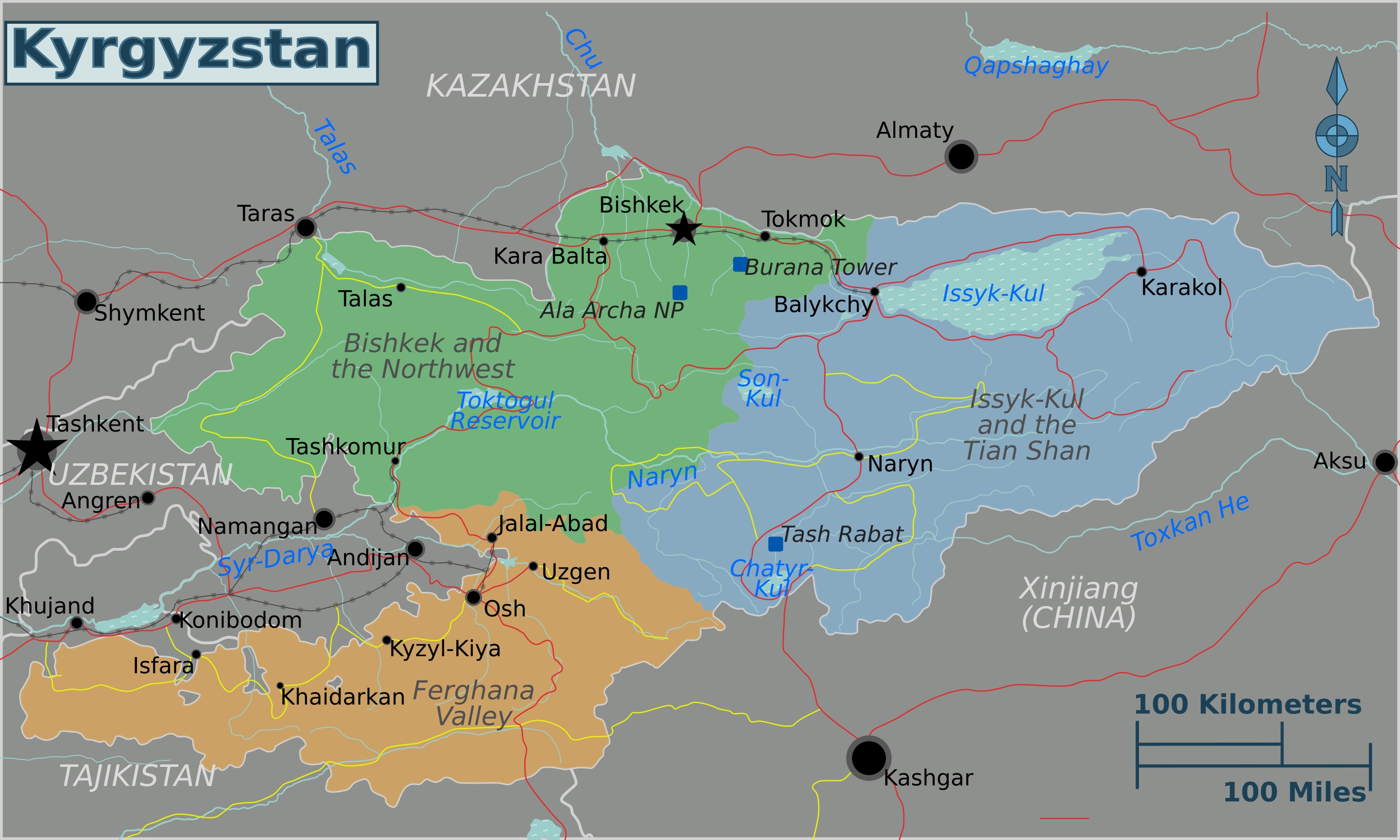 FileKyrgyzstan regions mappng  Wikimedia Commons