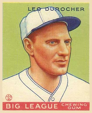 English: 1933 Goudey baseball card of Leo Duro...