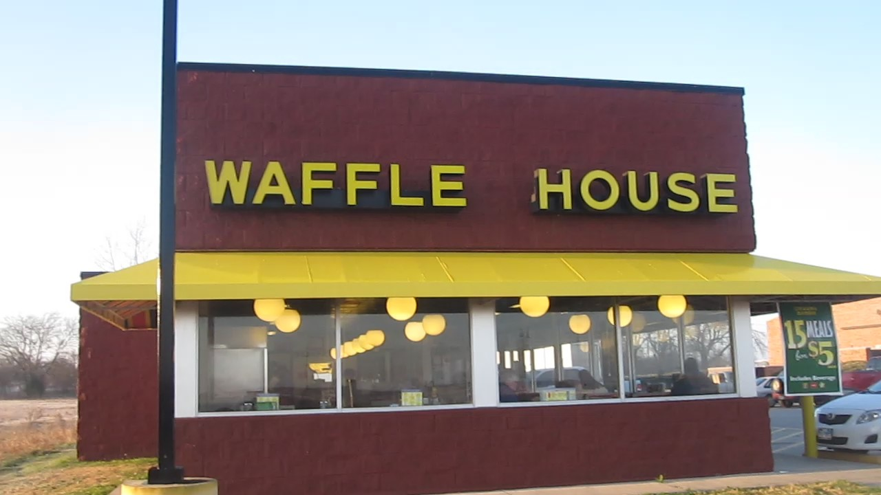 Photo of a classic-style waffle house, taken by Billy Harthorn from Wikimedia Commons, Creative Commons license attribution and share alike.