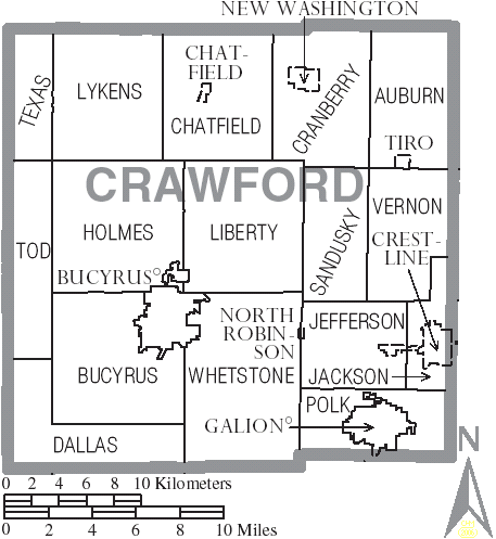Crawford County Ohio Township Map File Map of Crawford County