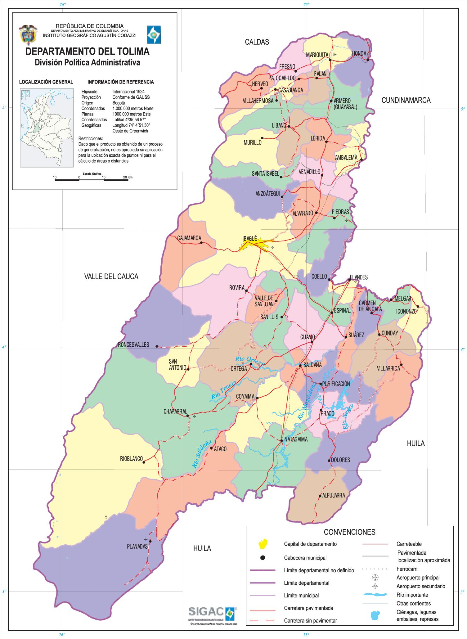 Filemapa Del Departamento Del Tolima Colombia Jpg