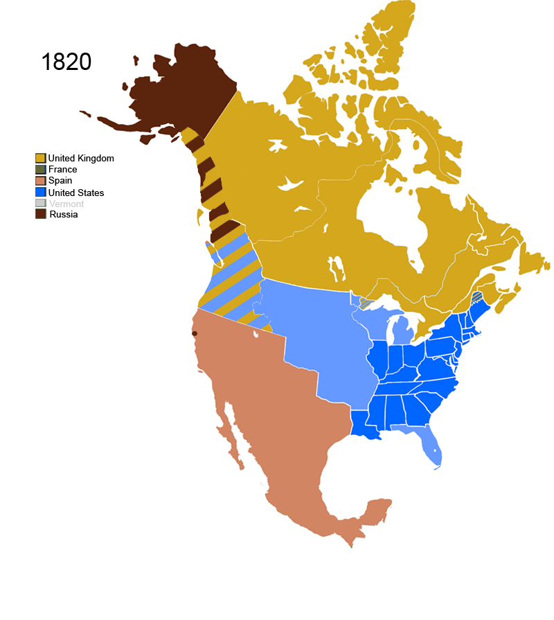 Map Of America 1820.File Non Native American Nations Control Over N America 1820 Png