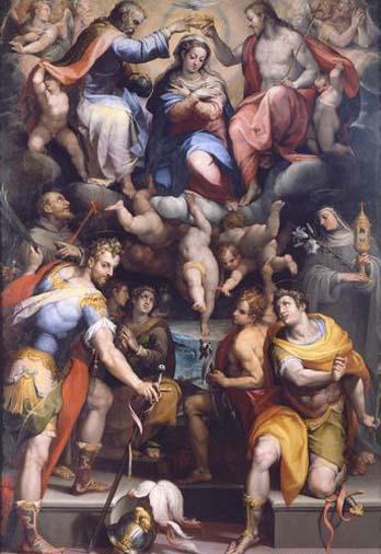 Orazio Samacchini (1532-77): Maria krones av Treenigheten og helgener (Nabor og Felix i forgrunnen) (ca 1570), Pinacoteca Nazionale i Bologna