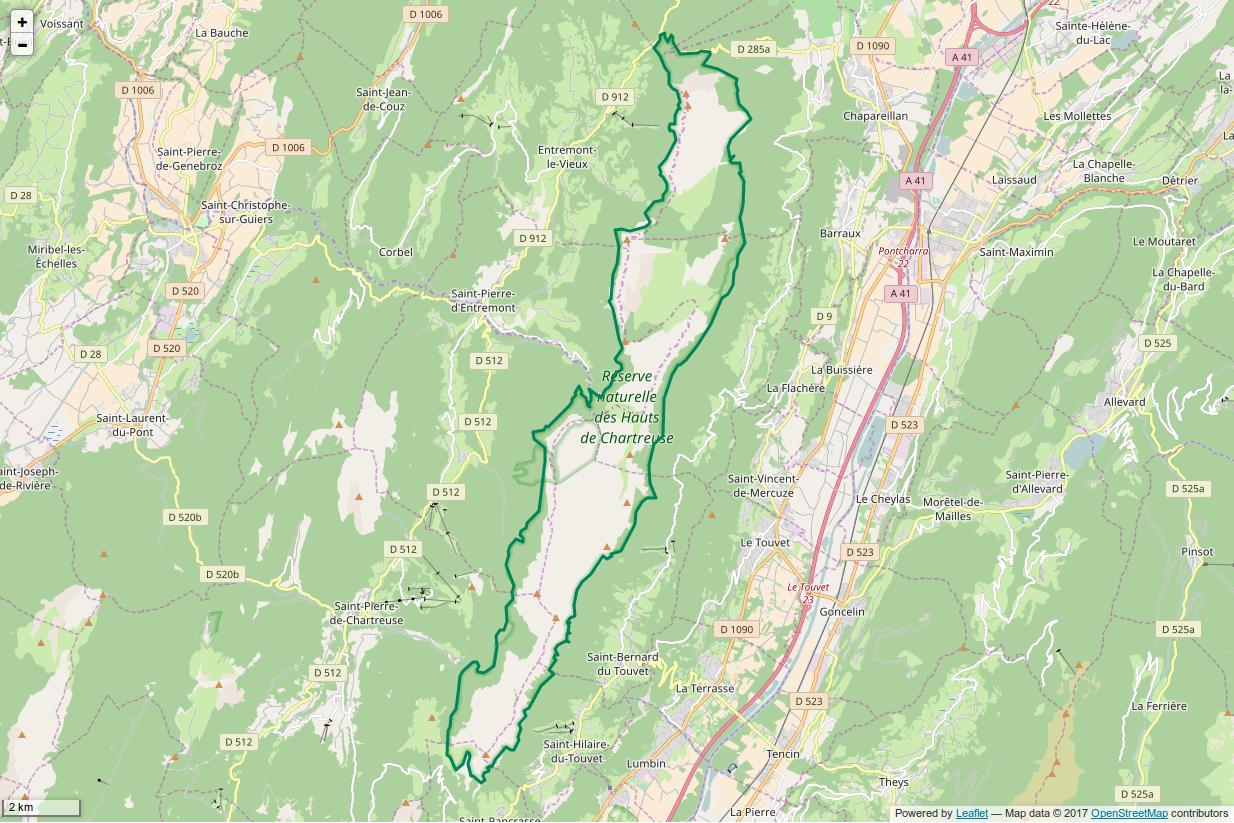carte Réserve naturelle nationale des Hauts de Chartreuse