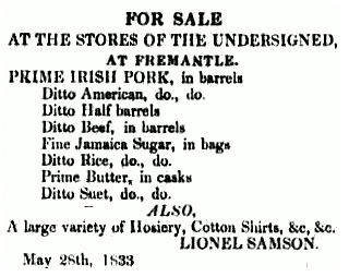 An advertisement from 1833 the second item on the list can be read as