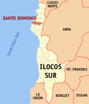 Map of Ilocos Sur showing the location of Santo Domingo