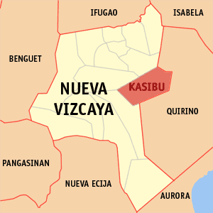 Map of Nueva Vizcaya showing the location of Kasibu