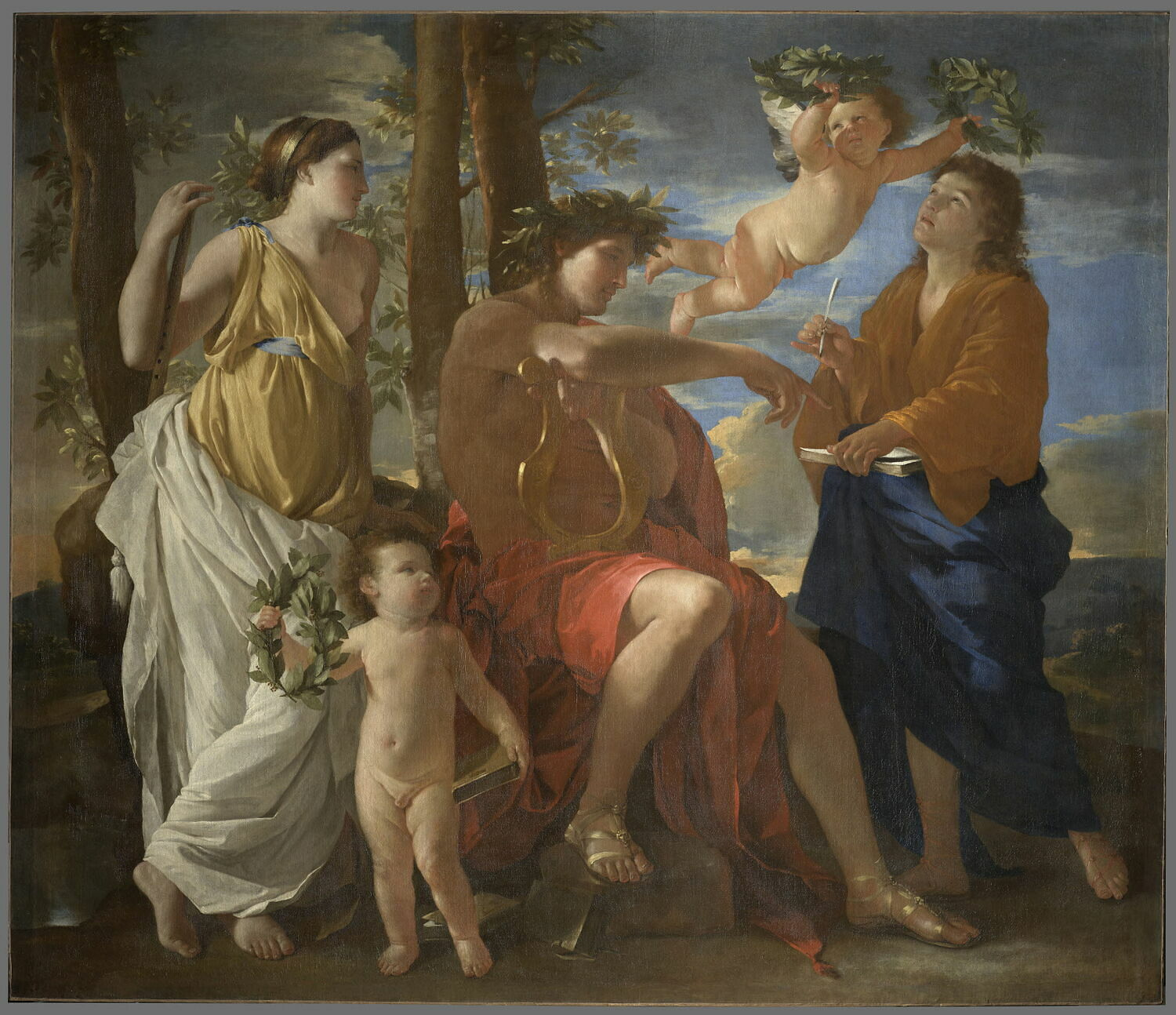Nicolas Poussin, Inspiration of the Poet, 1630,Louvre Museum, Paris, France. Representing of poetry on Art Timeline