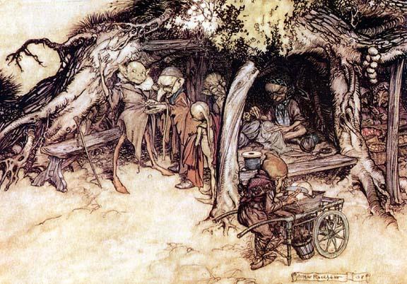 An image of elves by Arthur Rackham.