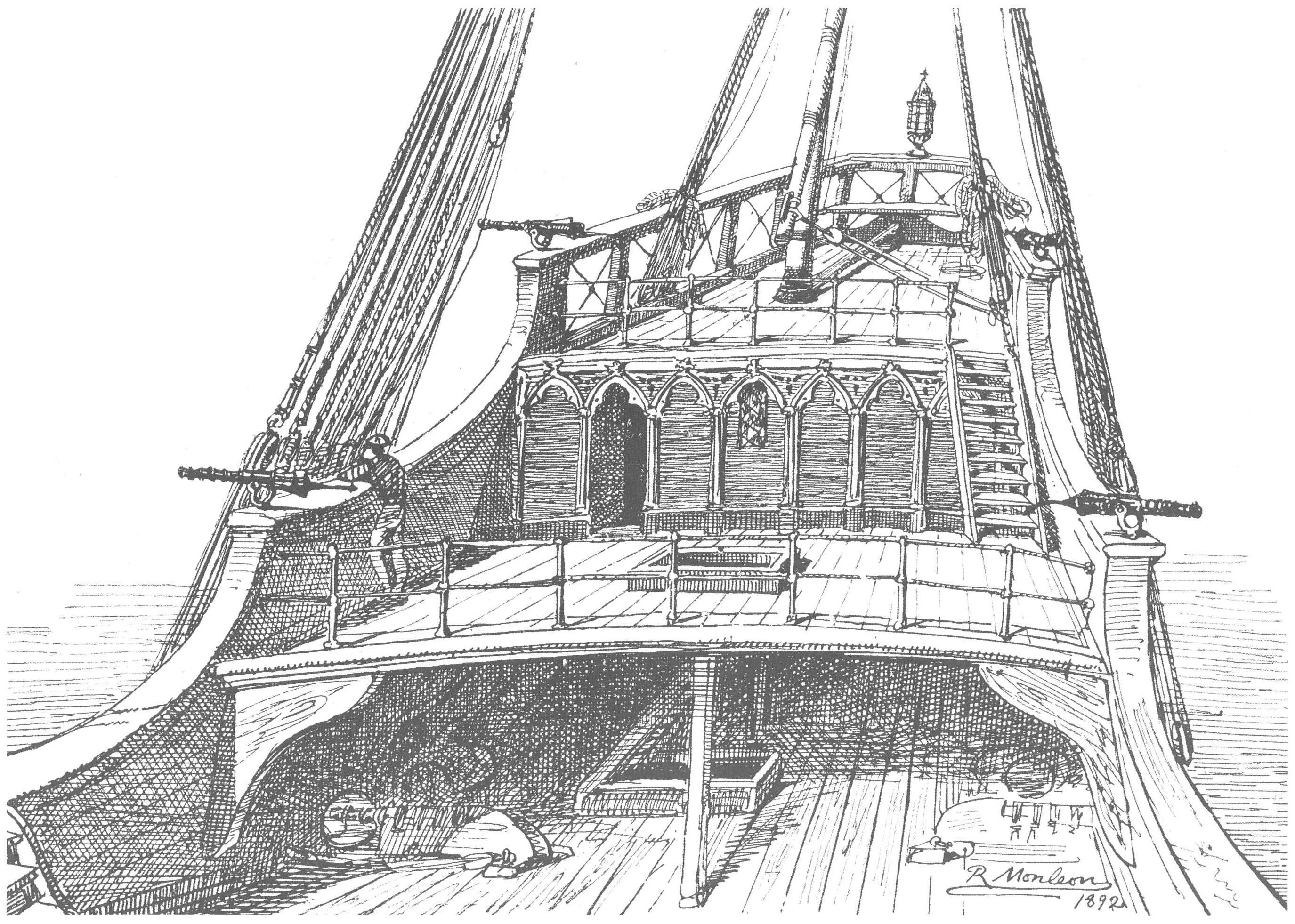 file reconstruction of santa maria quarterdeck drawing by r
