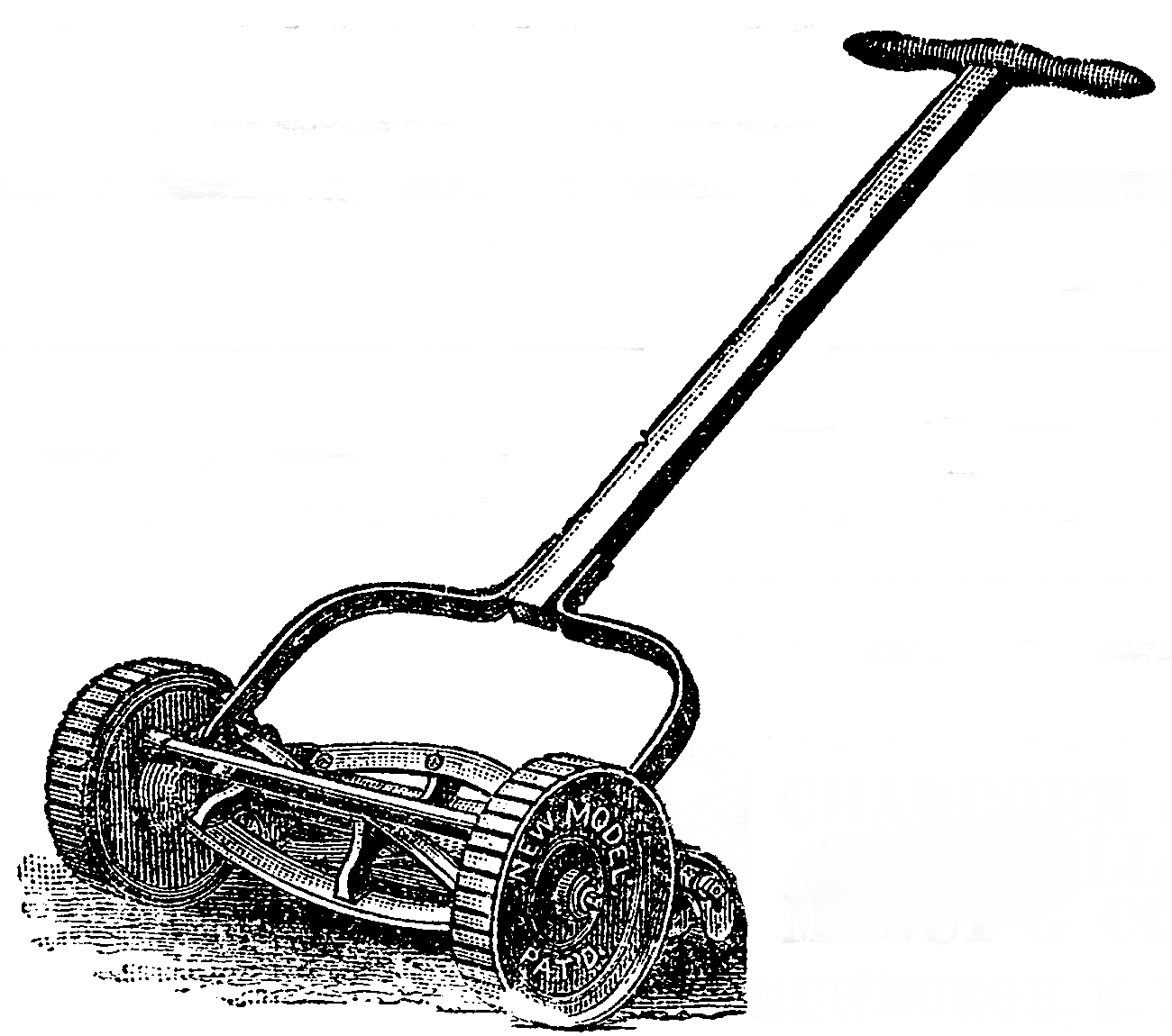 A black-and-white image of a reel lawnmower