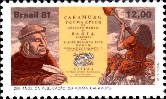 A 1981 Brazilian [[Postage stamp|stamp]] celebrating the 200 years of ''Caramuru''{{'}}s publication; a fictionalized depiction of Durão can be seen at the left, and [[Caramuru|Diogo Álvares Correia]] at the right