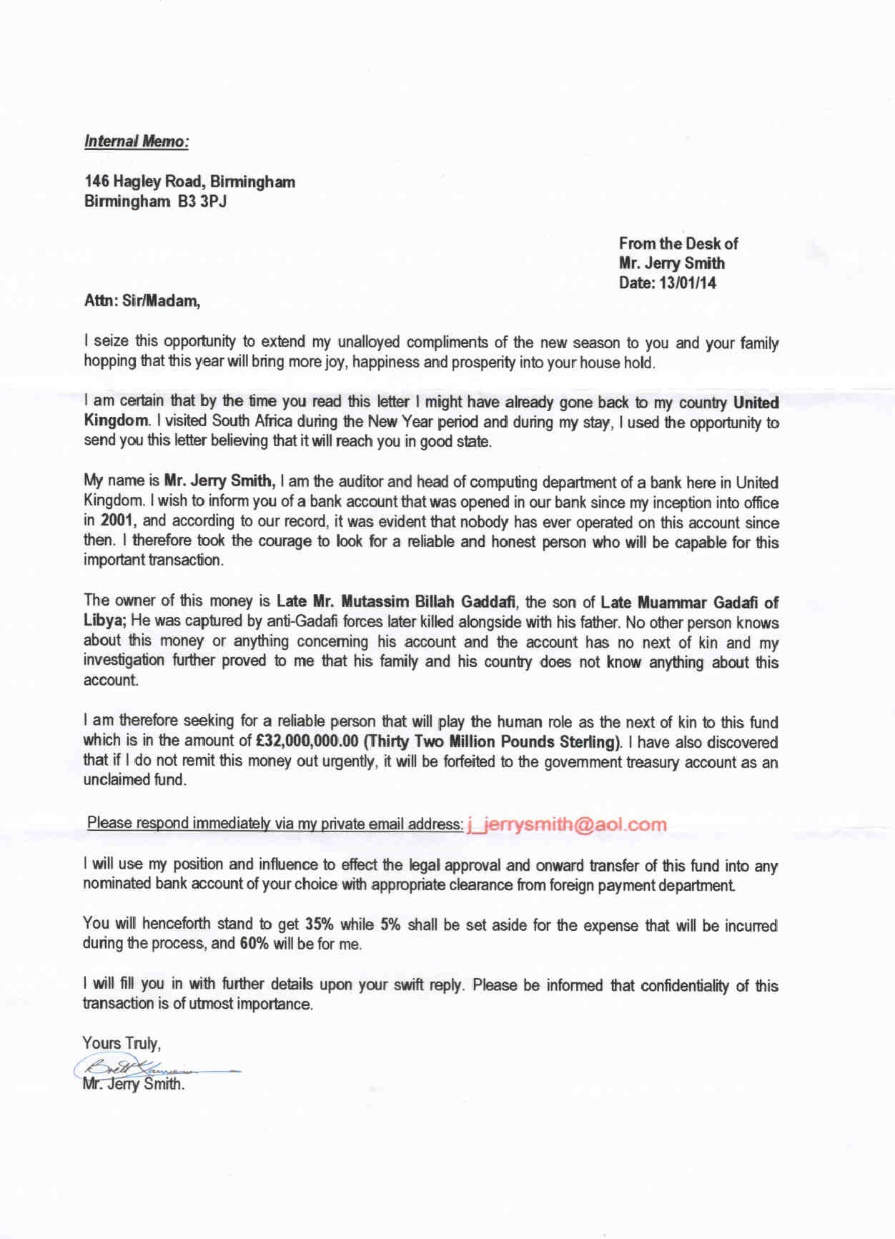 Description Scam letter posted within South Africa.jpg