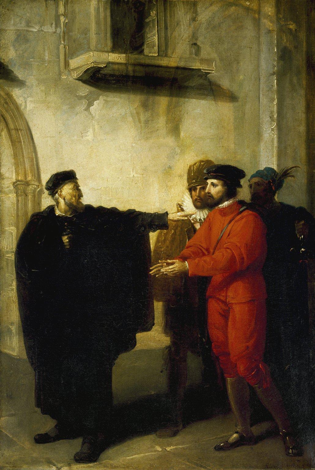 Shylock rebuffing Antonio (Westall, 1795).jpg