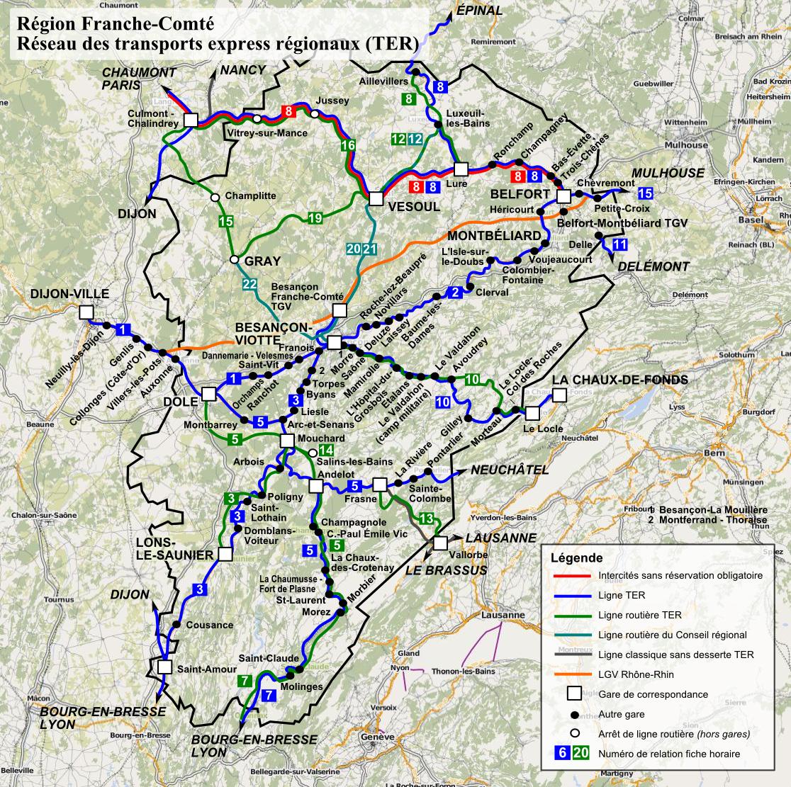 Схема поездов по Franche-Comté Franche-Comté (Франш-Конте)
