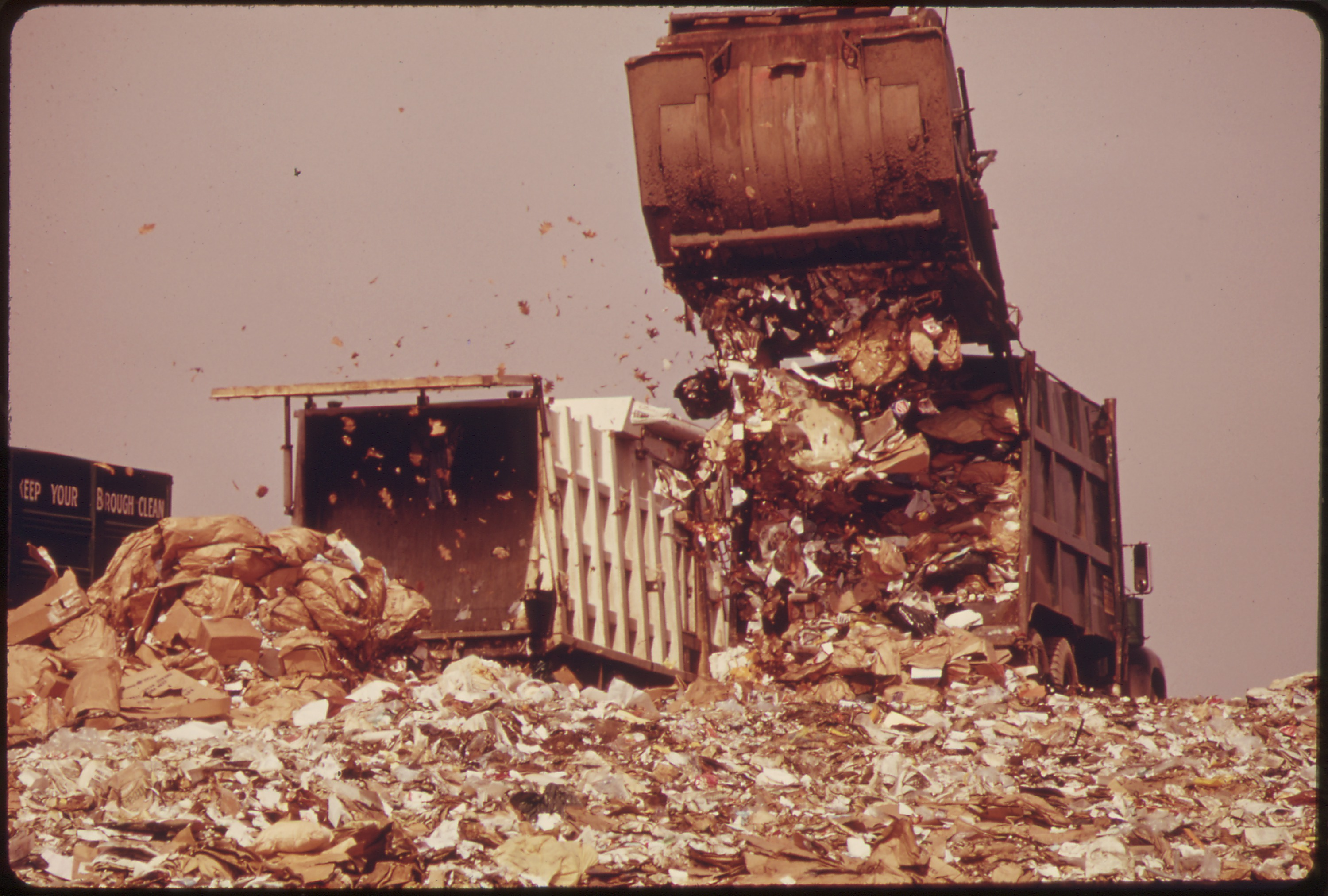 Truck dumping garbage in the Hackensack Meadows dump.
