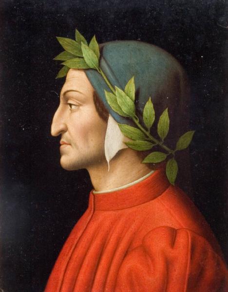 Testa di Dante Alighieri di profilo