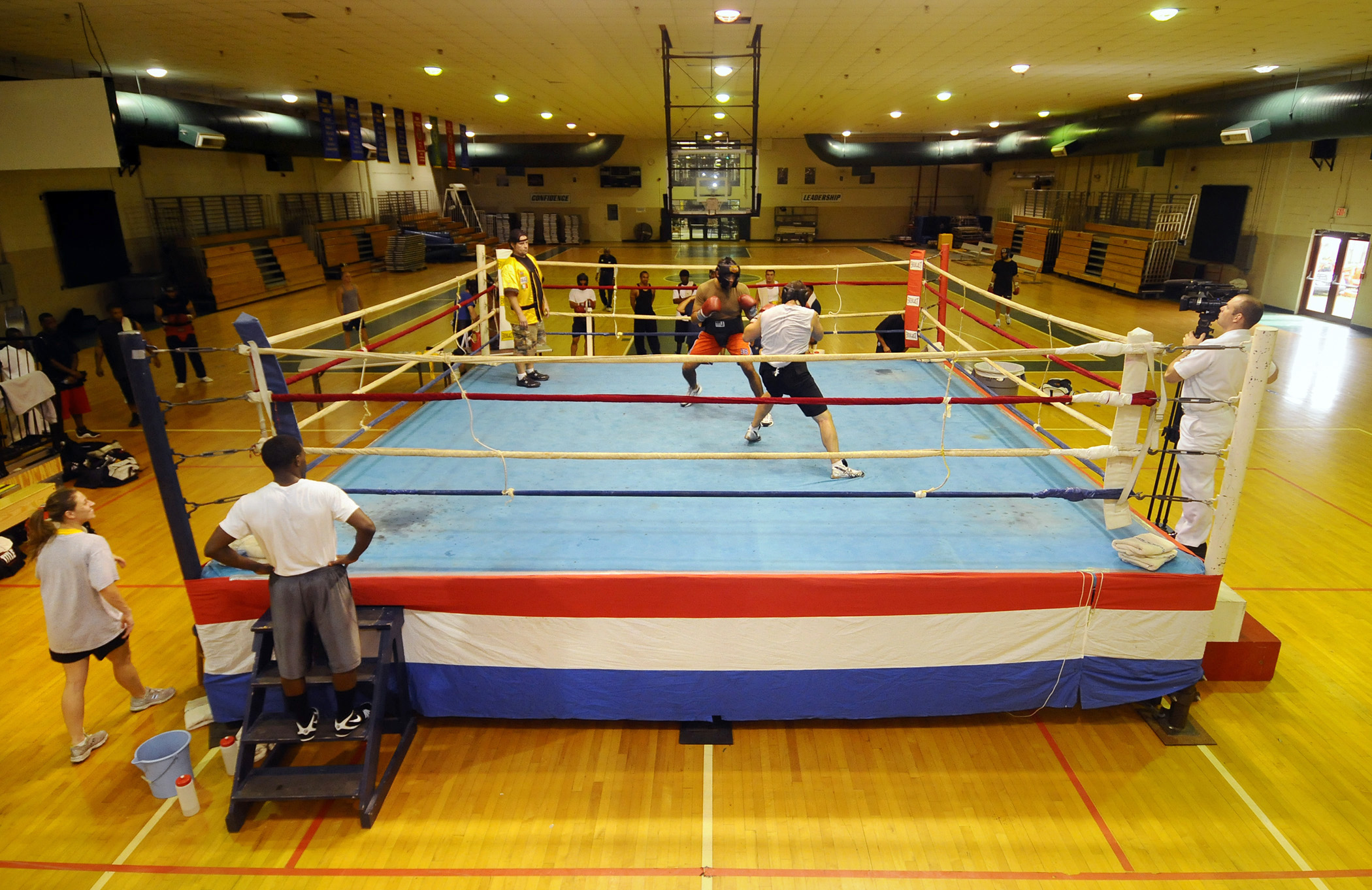 5345W-134 Navy boxers spar during the All-Navy Boxing Team mini