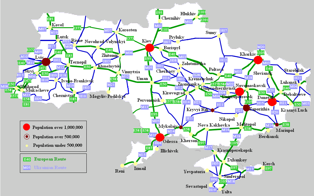 Highways in Ukraine motorway maps road tolls maximum speed