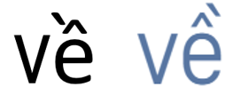 Different ways in which tone marks can be presented on letters that already have diacritic e.g. (`) on letter e when computerising Vietnamese. Ve.png