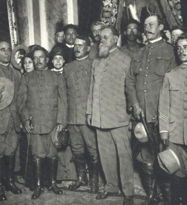 "Álvaro Obregón (center left) and grey-bearded ""First Chief"" of the Constitutionalists, Venustiano Carranza."