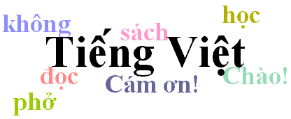 A collage of common Vietnamese words and phrases; to find out what each word or phrase means, please see the Glossary.