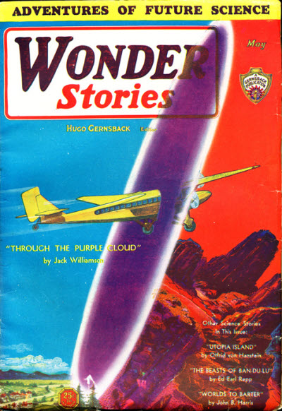 "Williamson's ""Through the Purple Cloud"" was the cover story in the May 1931 Wonder Stories Wonder stories 193105.jpg"