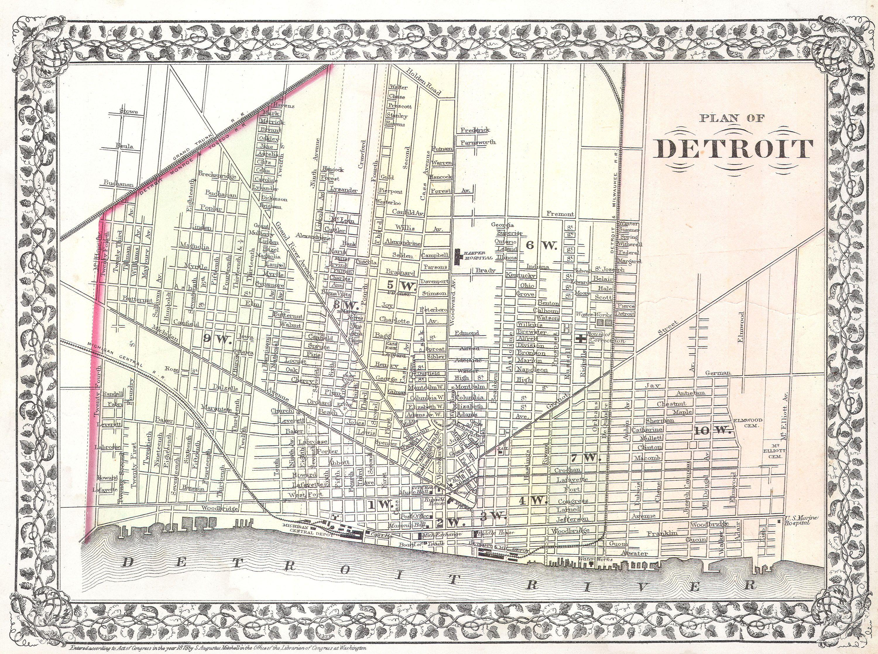 File 1872 Mitchell Map of the City of Detroit Michigan Geographicus Detr