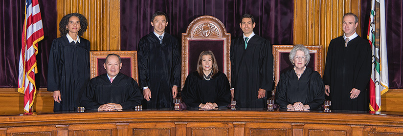 Justices of the California Supreme Court: Standing, from left: Justice Mariano-Florentino Cuéllar, Justice Carol A. Corrigan, Justice Goodwin H. Liu, and Justice Leondra R. Kruger. Seated, from left: Kathryn M. Werdegar (retired August 31, 2017), Chief Justice Tani G. Cantil-Sakauye, and Justice Ming W. Chin