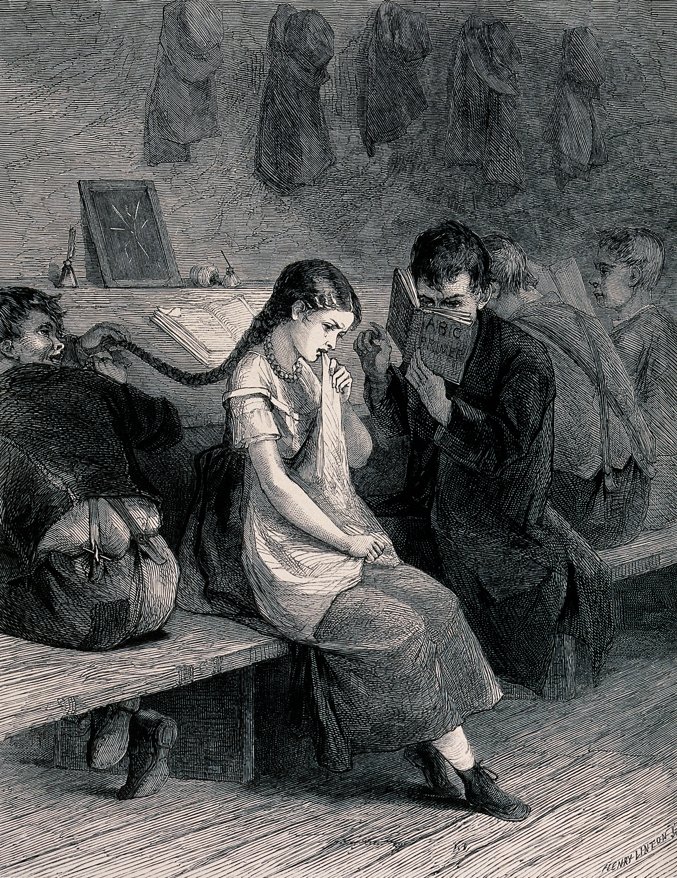 Filea young girl sitting on a bench crying as a boy pulls her pl wellcome v0039284 jpg
