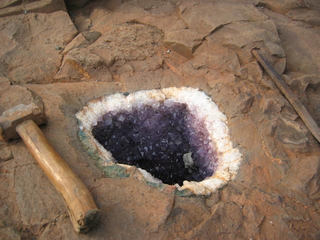 File:Amethyst geode in its parent rock.jpg