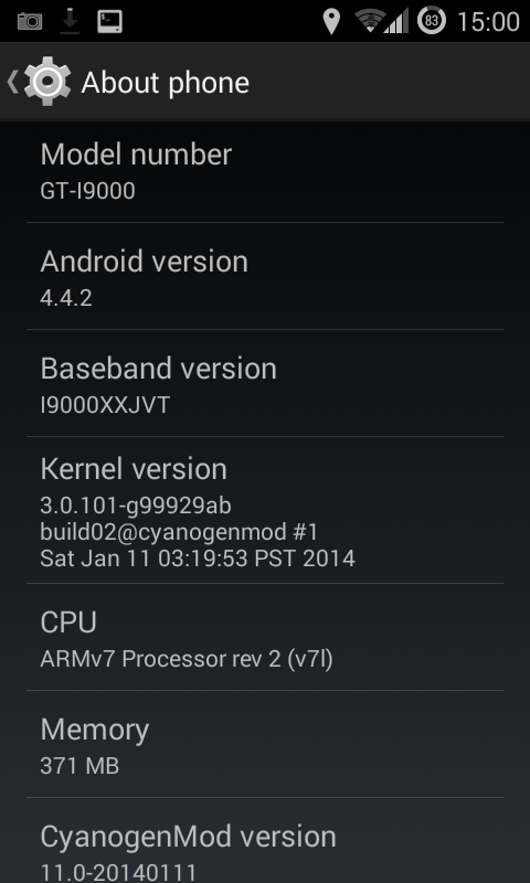 Android 4 4 2 cyanogenmod 11 installed on samsung galaxy s i9000 png