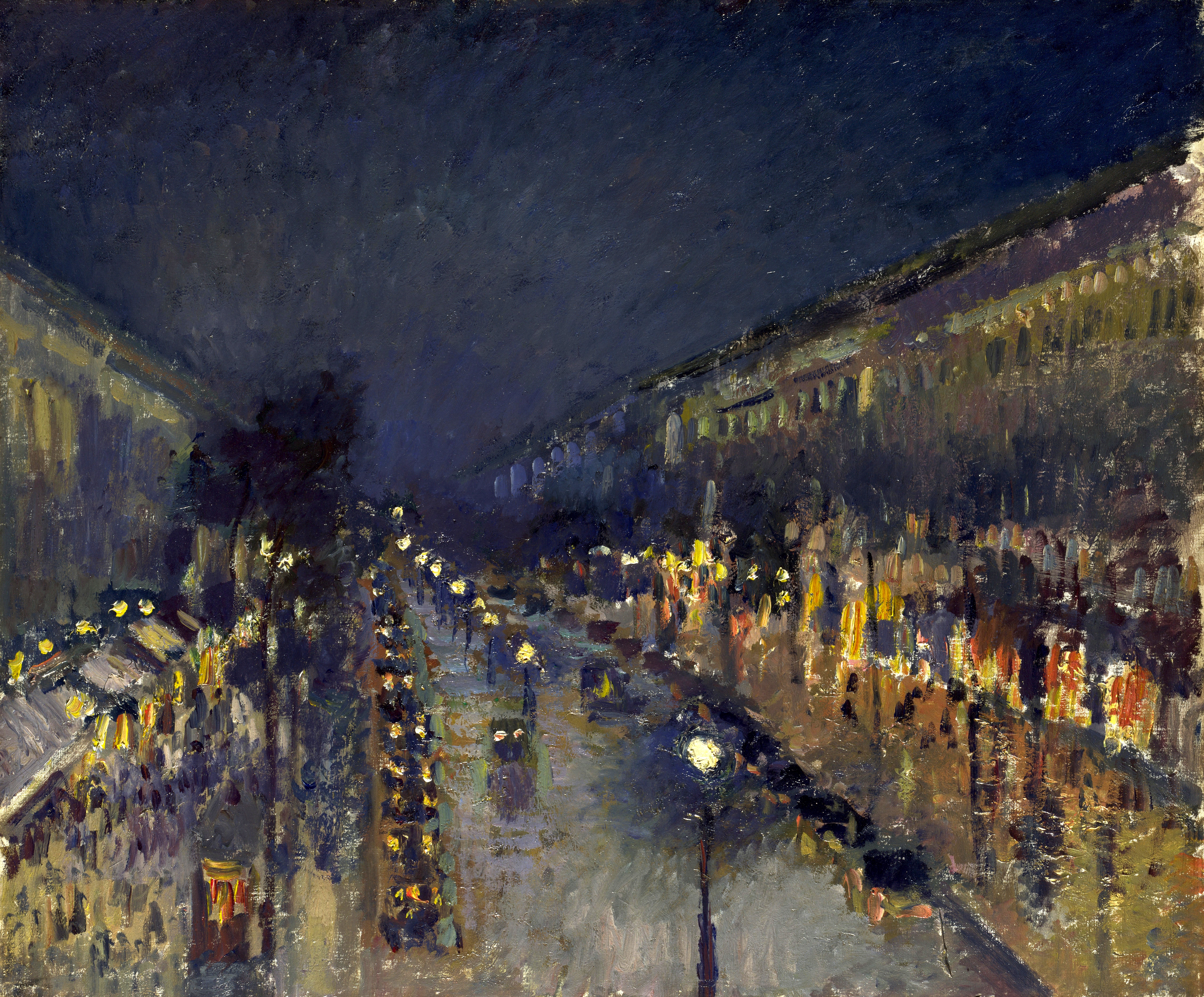 file camille pissarro the boulevard montmartre at night. Black Bedroom Furniture Sets. Home Design Ideas