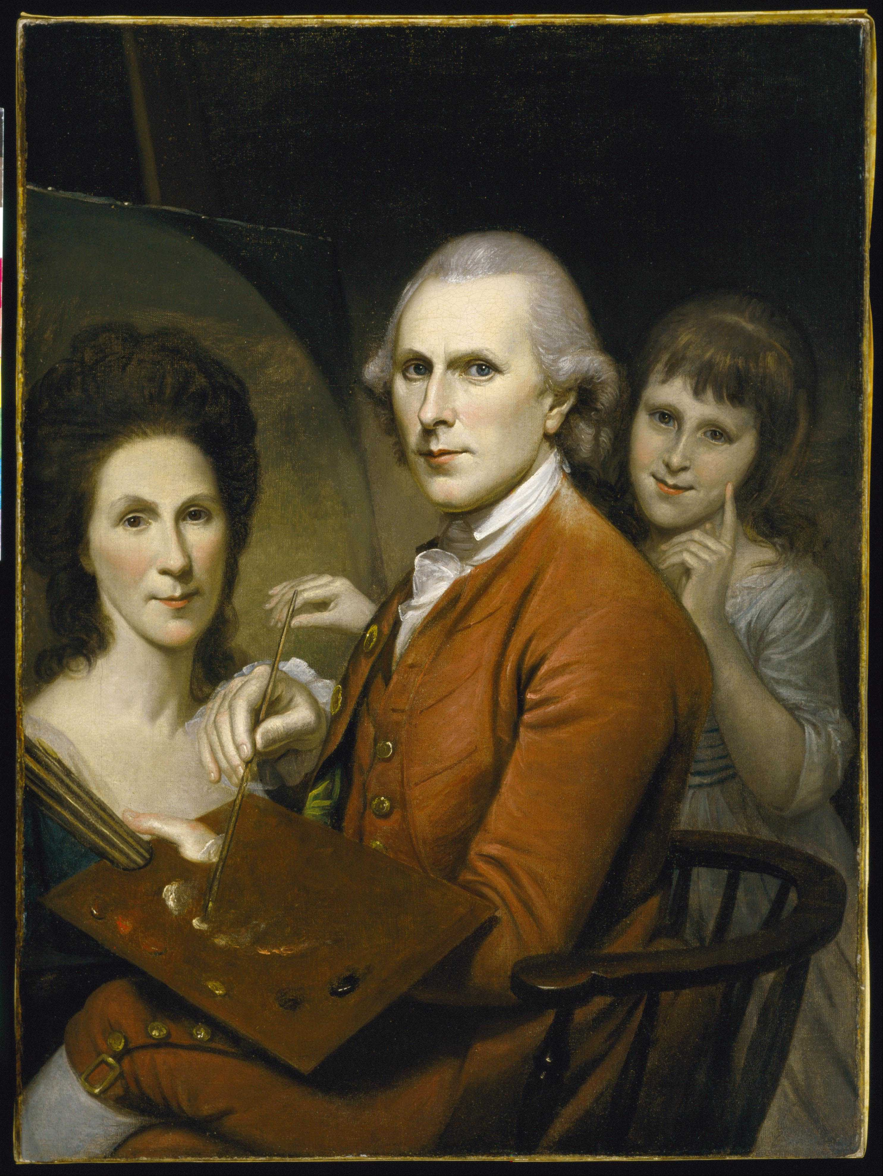Charles Willson Peale, self-portrait, {{circa}} 1782–85 with portraits of his wife Rachel and his daughter Angelica